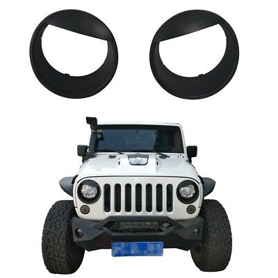 Black ABS Front Headlight Angry Eyes Style Trim Cover for Jeep Wrangler JK 07-18