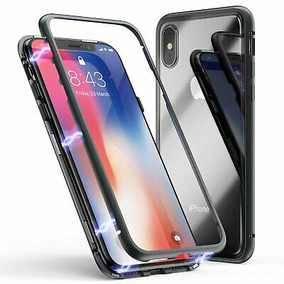 Magnetic Adsorption Metal Case For iPhone X 10th Luxury 9H Tempered Glass Cover