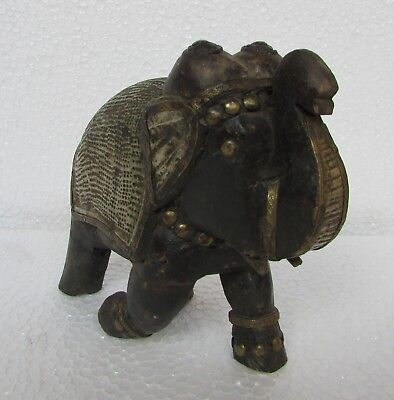 Vintage Old Handcrafted Metal Fitted Wooden Unique Shape Elephant Statue