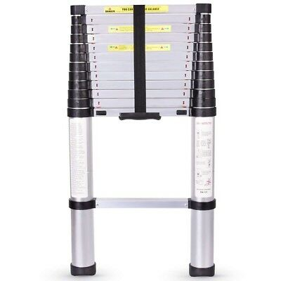 NEW 12.5 FT Pamapic One Button Self-closing Telescoping Ladder rated up to 330#