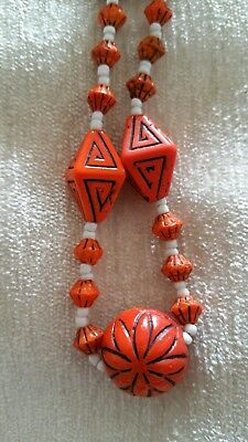 Vintage Art Deco Czech Neiger Orange Glass Bead Necklace Egyptian revival