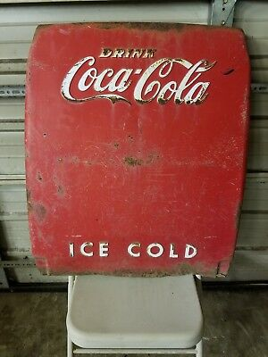 Vintage Coca-Cola Ice Chest Embossed Cooler End Panel Man Cave Wall Art Sign