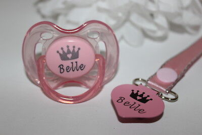 Personalised  Avent *Crown Heart* Soother And Soother Clip *Can Be Sterilised*