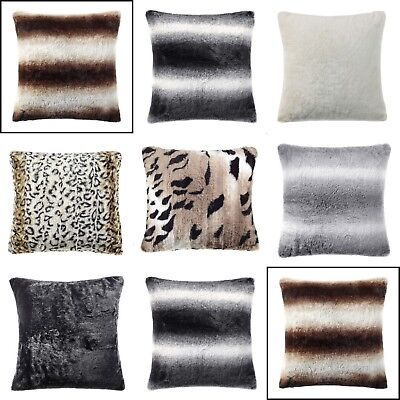 Rabbit Faux Sofa Charcoal,Silver,Cream,Black,Brown,Tiger,Leopard Cushion Covers
