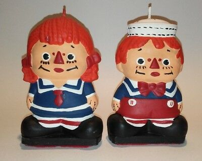 Vintage Raggedy Ann and Andy Candles Dated1974 The Bobbs-Merrill Company Inc.