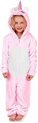 Girls Novelty 3D Hood Soft Pink Unicorn Cosy Fleece All In One - In 4 UK Sizes
