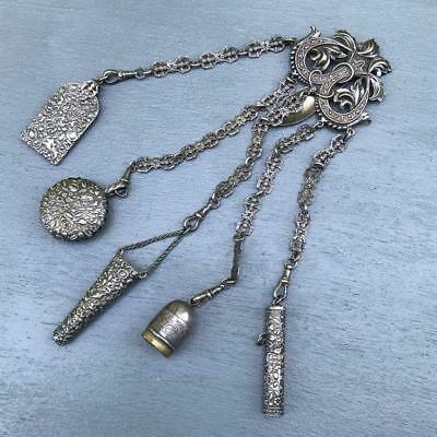 Antique  Victorian Silver Plated Long Chatelaine Pin Brooch
