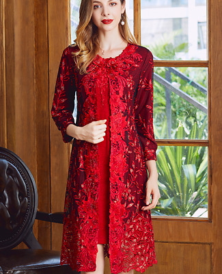 Women Red Wedding Two-piece Dress Elegant Embroidery Rhinestone For Mother Chic
