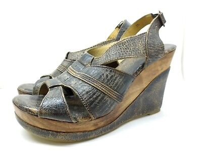 6939dd91f59c Bed Stu Gayle Cobbler Series Women Sz 11 Distressed Black Leather Wedge  Sandals