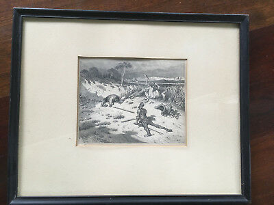 Antique French Gustave Dore Don Quixote Battlefield Soldiers Woodcut Engraving