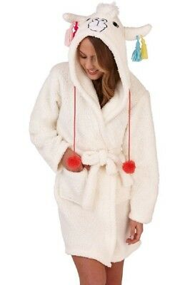 Ladies Cream Sherpa Fleece Cute Llama Design Hood Short Bath Robe/Dressing Gown
