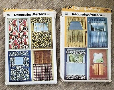 Lot 2 Vintage Curtain Sewing Patterns 1970s Kitchen Home Decor Simplicity