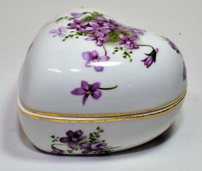 HAMMERSLEY Bone China England VICTORIAN VIOLETS Patterns HEART Shape Trinket Box