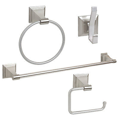 "4 Piece Bathroom Hardware Bath Accessory Set with 24"" Towel Bar, Satin Nickel"