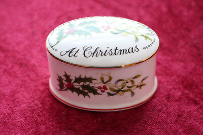 """Crown Staffordshire England """"Love and Best Wishes at Christmas"""" Trinket Box"""