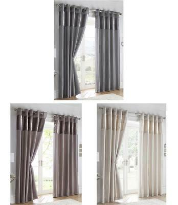 Crushed velvet curtains with chrome eyelets charcoal grey mink or oyster cream