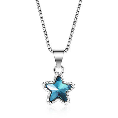 925 Sterling Silver Cute Blue Zircon Star Pendant Box Chain Necklace Xmas Gift