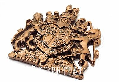 Bronze British Royal Coat of Arms Wall Crest Plaque   Hanging   Unicorn Lion