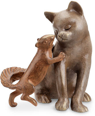 Stealing a Kiss Cat/Squirrel Garden Statue/Sculpture by SPI Home 34062