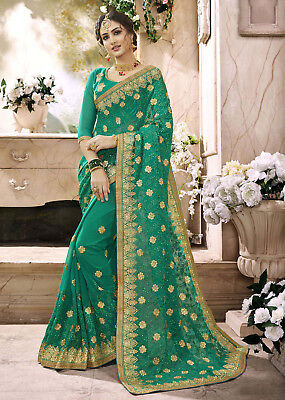 Indian Designer Saree Sari Embroidered Lace Wedding Party Pure Georgette 0319