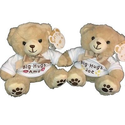 Personalised embroidered teddy bear new baby christening birthday gift Boy Girl