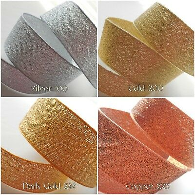 Lame/Metallic/Sparkly Ribbons-Berisfords-1M/3M/5M- 3/7/15/25/40mm-WeddingRibbon