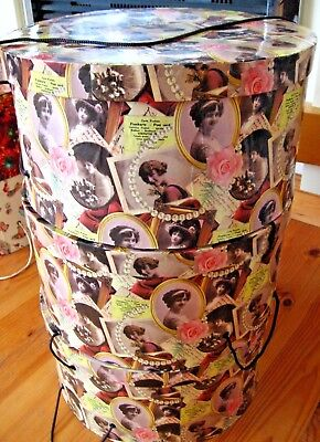 Three Large Vintage Hatboxes: Edwardian Ladies Decoupage Effect. Exc. Condition