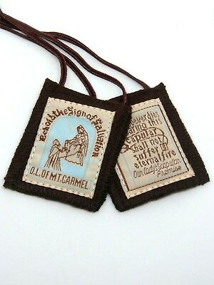 Brown Prayer Scapular Our Lady of Mount Carmel - 100% Wool