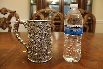 Exceptional antique Chinese export .900 silver mug