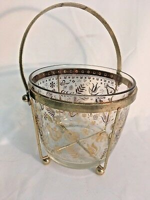 Vintage Mid Century Glass Ice Bucket with Gold Etching and Gold Holder