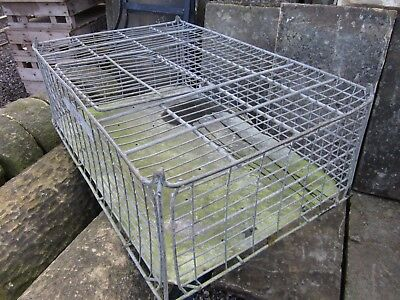 Large galvanised Vintage  crate with opening ie: hen crate pigeon