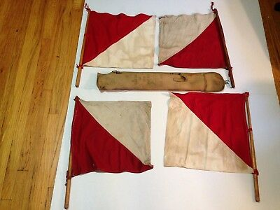 WW II Signal Corps US Army Four Flag Kit Type M-113  w/ Canvas Bag
