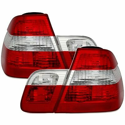 2 Feux Arriere Bmw Serie 3 E46 Berline 5/1998 A 9/2001 Blanc Rouge Look Phase 2