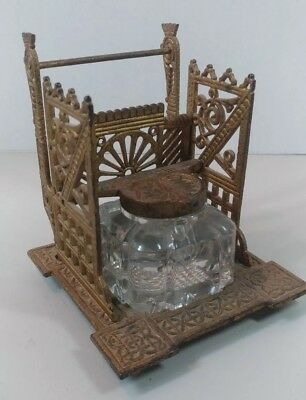 1880's Antique AESTHETIC PERIOD Victorian  Cast Iron & Glass INKWELL /OLD GOLD
