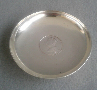 British 1936 Sterling Silver King George VI Coin Footed Coronation Dish