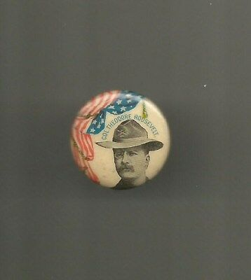 1898 Colonel Teddy Roosevelt NY Governor or 1900 Vice President Button Pin