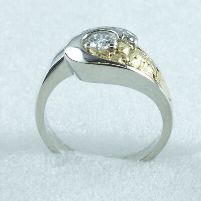 Designer Ladies Diamond Ring Natural Nugget / 14K White Gold Size 8 1/2 Near 3/4