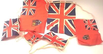 Vintage Great Britain English UK Flags on a Rope Antique Party Display Flag