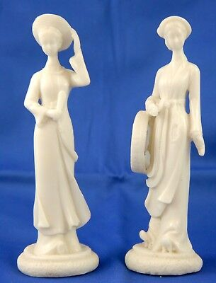 """Set 2 Alabaster Lady Figurines. Chinese Antique Hand Carved White Stone Hats 7"""""""