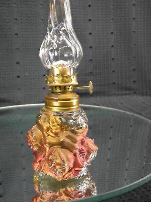 Antique Miniature Goofus Glass Oil Lamp with Chimney