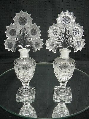 "Vintage "" Matched Pair"" Eapg Art Deco Daisy Perfume Bottles"