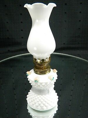 Vintage Hobnail Milk Glass Miniature Oil Lamp with Applied Roses and Chimney
