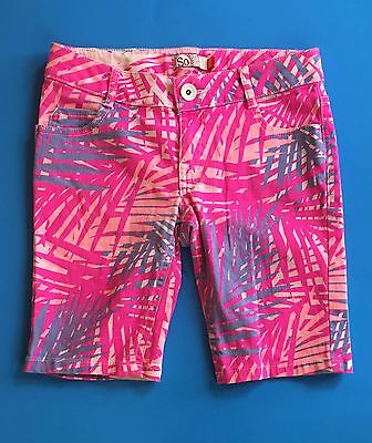 So American Heritage Bermuda shorts size 10 girls palm tree tropical neon pink
