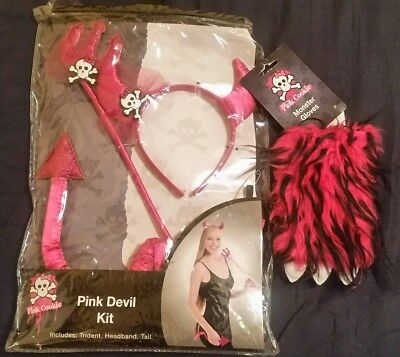Combo Pink Cookie Women's Pink Devil Halloween Costume Kit And Monster Gloves!!