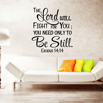 EXODUS 14:14 Bible Verse Wall Decals Christian Quote Vinyl Wall Art Decor