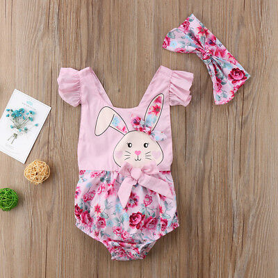 Newborn Infant Baby Girl Cute Romper Jumpsuit Bodysuit Headband Clothes Outfit