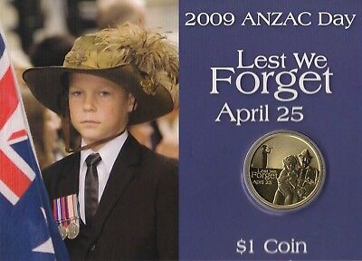 2009 Uncirculated $1 Coin Anzac Day Lest We Forget - Australian Army