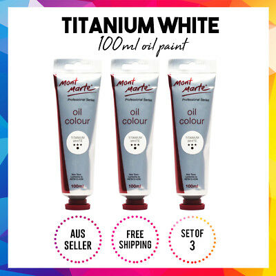 Mont Marte High-Quality Oil Paint 100ml - Titanium White 3x