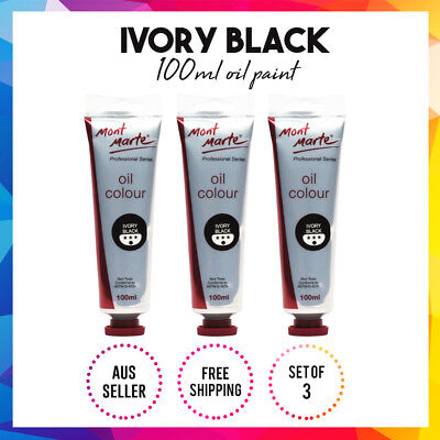 Mont Marte High-Quality Oil Paint 100ml - Ivory Black 3x