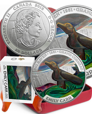 1931-2018 Big Raven Famous Canadian Art Emily Carr $50 5OZ PureSilver Proof Coin